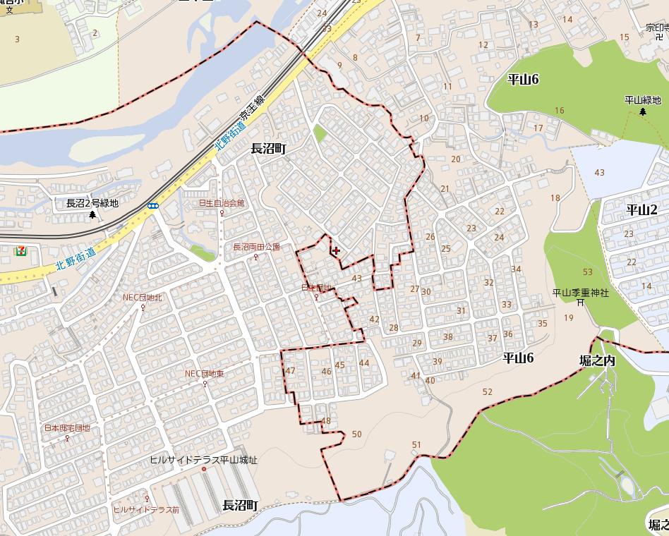 八王子市長沼町の地図