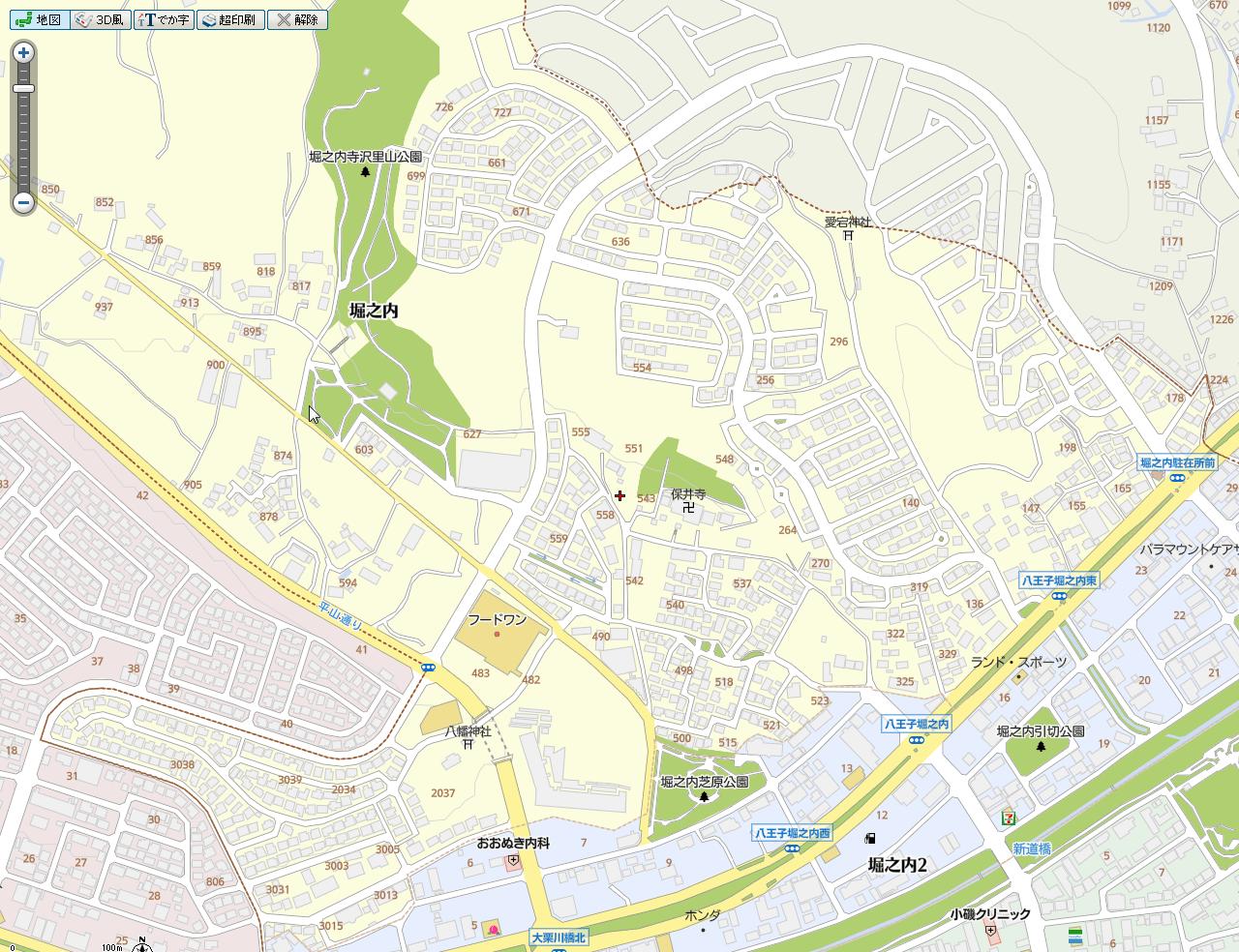 八王子市堀之内町旧番地の地図1
